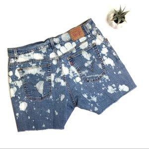 [Levi's] Custom Bleached Denim Shorts Size 14
